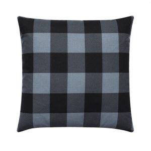 Ash Grey Black Plaid Throw Pillow Case
