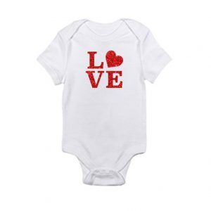 LOVE With Red Glitter and HeartBaby Onesie